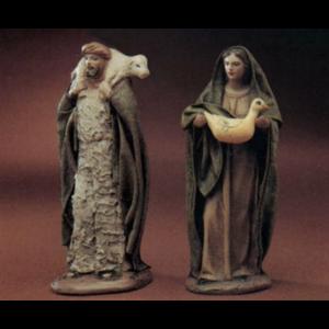 Shepherd with Lamb on Shoulders/ Shepherdess with Goose