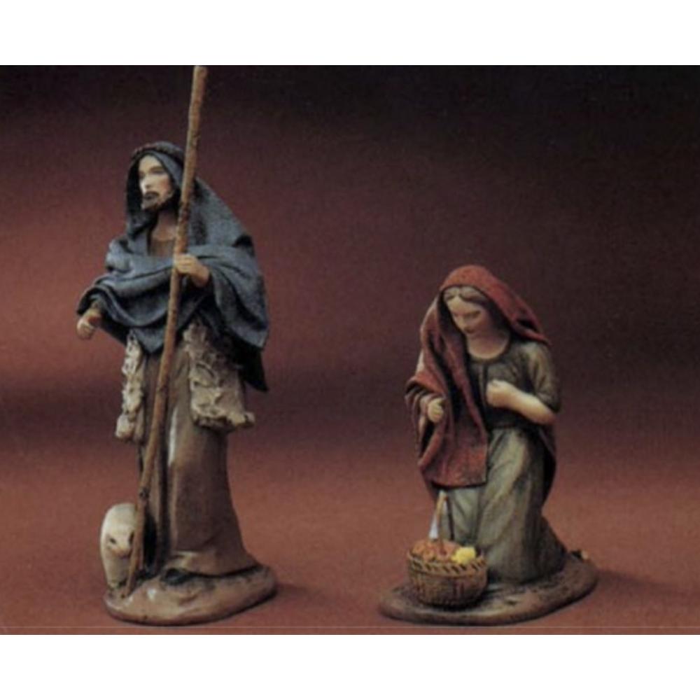 20654-Shepherd-with-Lamb-and-Staff-Woman-Kneeling-with-Fruit-Basket
